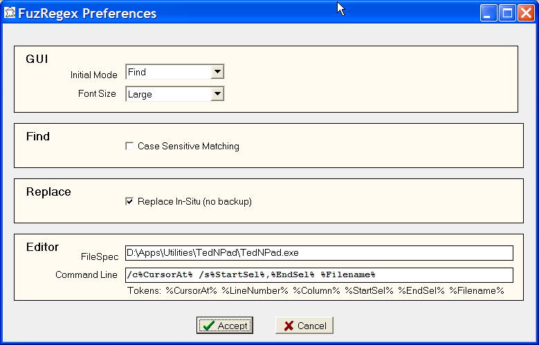 screenshot of preferences needed to connect to TED Notepad